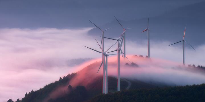 Wind turbines in beautiful scenery